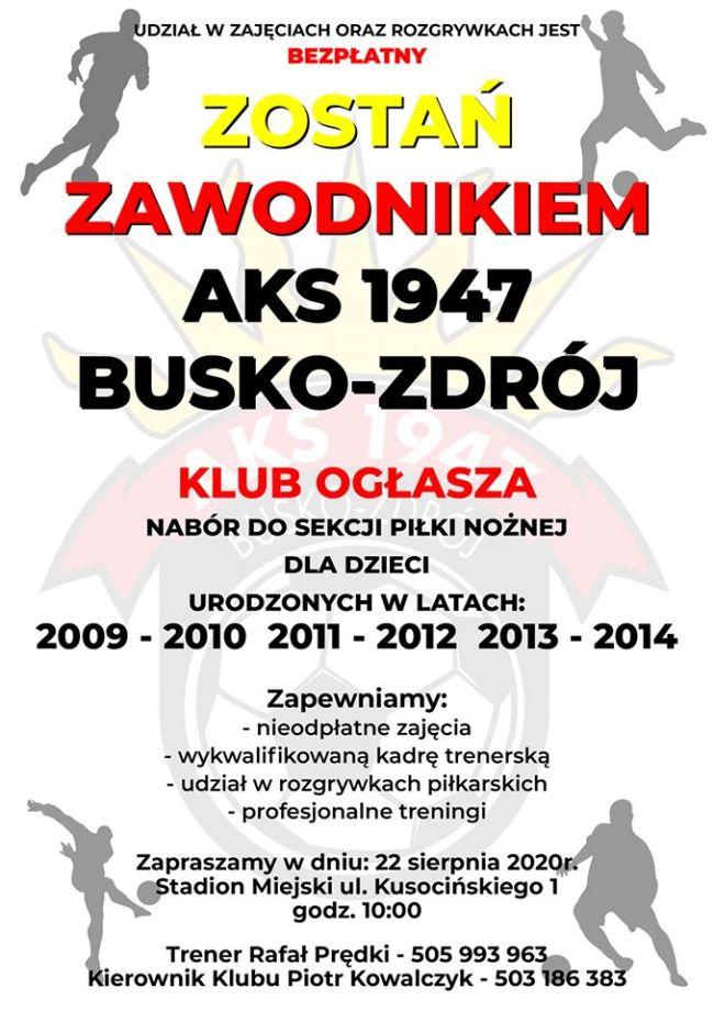 Klub AKS 1947 Busko-Zdrój ogłasza nabór do Sekcji Piłki Nożnej
