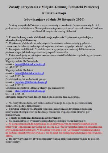 Zasady korzystania z Miejsko-Gminnej Biblioteki Publicznej