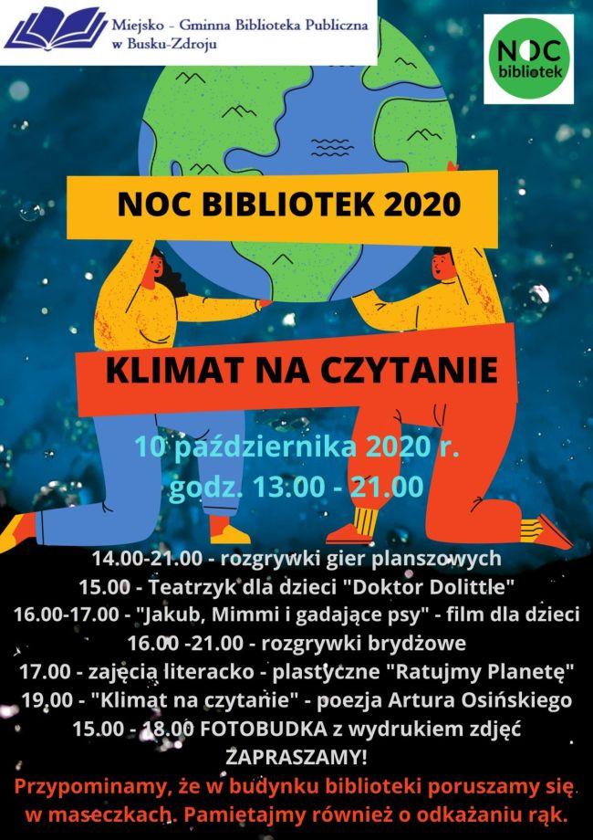 """NOC BIBLIOTEK 2020 – """"Klimat na czytanie"""" opis poniżej pod plakatem"""