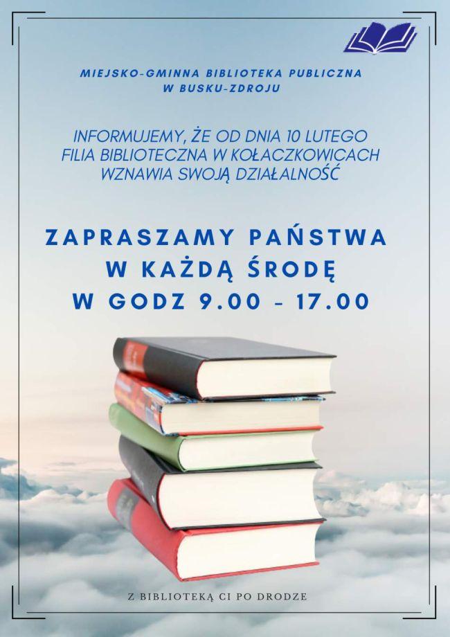 Informacja dla czytelników filii bibliotecznej w Kołaczkowicach
