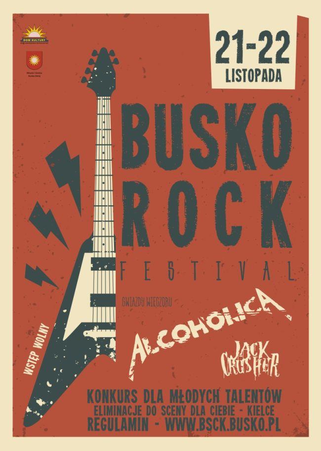 Na plakacie znajdują się informacje o zaproszeniu na młodzieżowe zespoły wokalno-instrumentalne do udziału w Busko Rock Festival i eliminacjach do XXIII Festiwalu Scena dla Ciebie Kielce 2021.