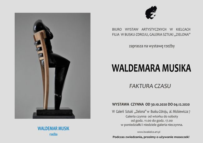 """Biuro Wystaw Artystycznych w Kielcach Filia w Busku-Zdroju , Galeria Sztuki ,,Zielona"""" zaprasza na wystawę rzeźby Waldemara Musiaka ,,FAKTURA CZASU"""""""
