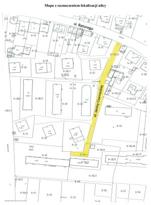 Mapa z zaznaczeniem ulicy Janiny Czarneckiej