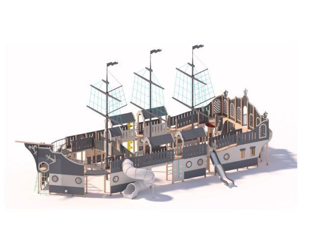 Zdjęcie przedstawia wizualizacja trójmasztowego okrętu